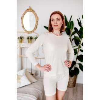 Long sleeve and shorts pj with silk